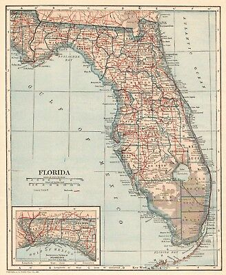 Florida Map State.1921 Antique Florida Map Vintage State Map Of Florida Gallery Wall