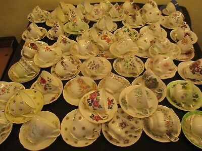 Job Lot Of 10 Mismatch Vintage Cups And Saucers For Tea Parties/weddings/tearoom