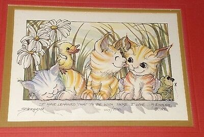 Jody Bergsma 1982 Signed Numbered Framed Lithograph Cat Duck Picture Art Print