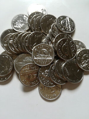 Roll of 1966 Canada Five Cents (UNC. 40 Coins,)