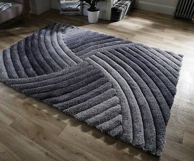 Grey Silver Cosy Costal Shaggy Rugs Soft Thick Furry Polyester Living Room Rug