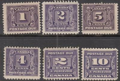 Canada #J1//J14 mint Postage Dues 6 diff stamps cv $121.50