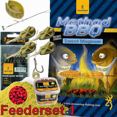 Browning Feeder Set1 Big Fish Method + DVD Angelset Komplettset Futterkorb