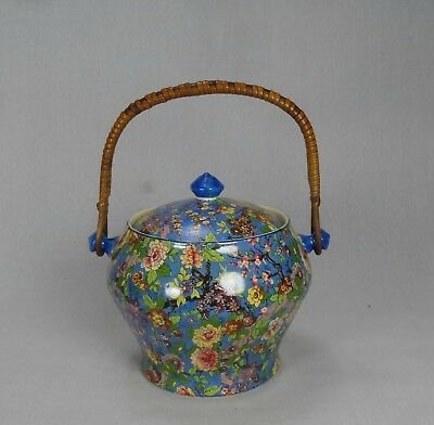 Rare Vintage Crown Ducal Ware Blue Chintz Large Biscuit Barrel Art Deco Lidded