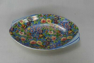 Rare Vintage Crown Ducal Ware Blue Chintz Large Sandwich Cake Plate Art Deco