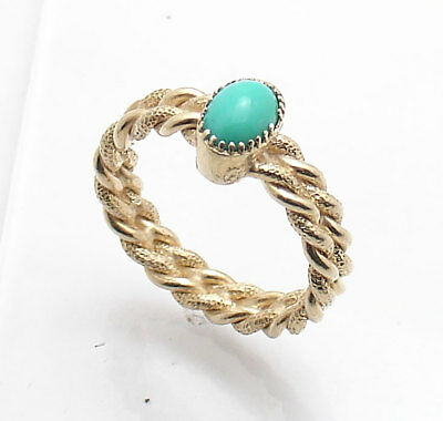 Sz 8 Technibond Turquoise Gemstone Twisted Wire Ring 14K Yellow Gold Clad Silver