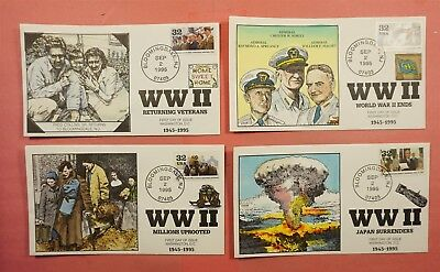 10 Fdc Set 1995 #2981 Wwii  Collins Hand Painted