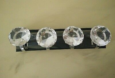 Diamante Napkin Rings - Set Of 4, Crystal Look - 4 Chrome Kitchen