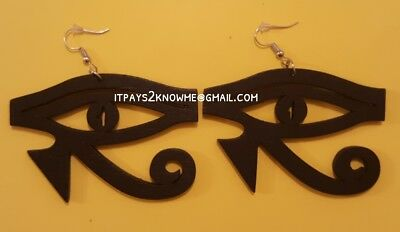 African ancient Egyptian Eye of Ra wooden earrings