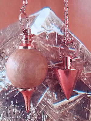2 Dowsing Pendulum With 2 Storage Pouches. 1 Solid Sandalwood, 1 Copper Point