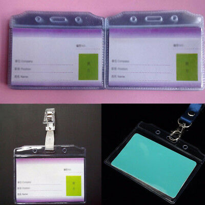100 Quality Plastic ID CARD HOLDER POUCH Clear PVC Lanyard Work BADGE Lock