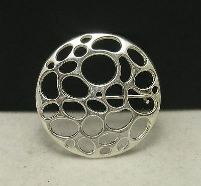 Stylish Sterling Silver Brooch Solid 925 Circle A000009