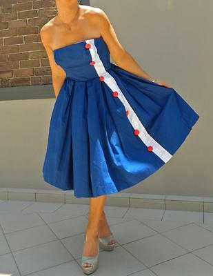 VINTAGE Couture 1950's Original  Rare Rockabilly Nautical Glamour Pin-up Dress