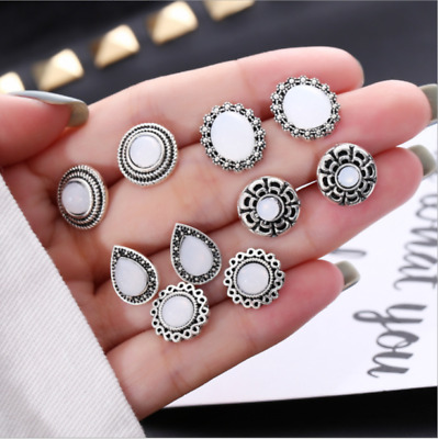 5Pair /Set Fashion Women Trend Cobblestone Boho Earrings Ear Stud Jewelry