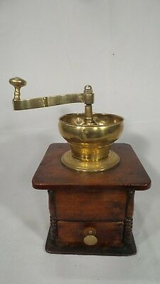 Superb BRASS and MAHOGANY  antique French COFFEE GRINDER C 1890