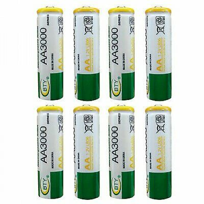 8 pcs AA LR06 3000mAh 1.2V NI-MH rechargeable battery CELL/RC 2A BTY Green