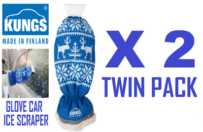2 x KUNGS Arctic-IS Glove / Mitt Car Ice Scraper Made In Finland  TWIN PACK