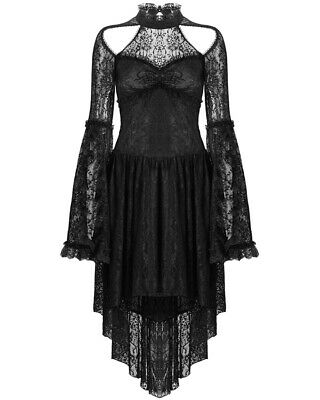 Dark In Love Black Gothic Lace Dress VTG Steampunk Victorian Long Sleeve Witch
