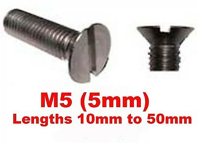 M5 Stainless Steel Countersunk Slotted Machine Screws, 12mm,16mm,20mm,30mm,40mm