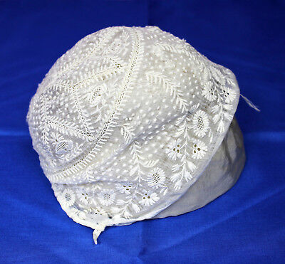 Antique Off White Lace Baby Bonnet Newborn Infant Size Also Great for Doll