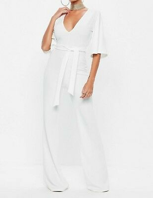 b5e54525fafb MISSGUIDED White Plunge Kimono Sleeve Jumpsuit UK 14 US 10 EU 42 (camg165)