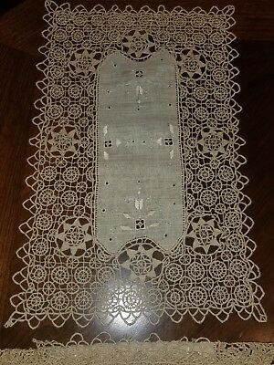 Vintage Italian Needle Lace Reticella Wheel Ecru Table Runner And 6 Placemats