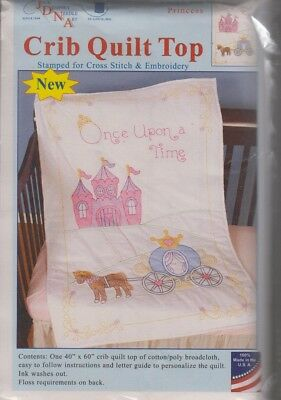 1 Jack Dempsey Princess Stamped XStitch-Embroidery Crib Quilt Top