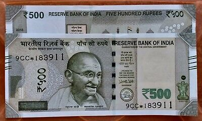 India Gandhi 500 Rupees Replacement Star Series 8GT Prefix 2017 Plain Inset UNC