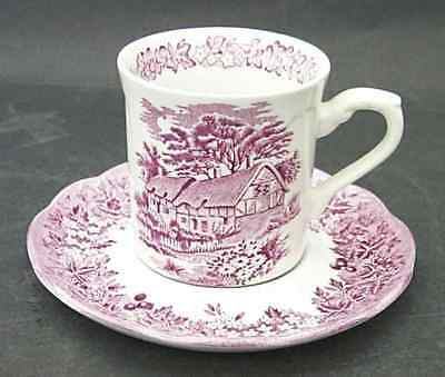 J & G Meakin ROMANTIC ENGLAND RED Cup & Saucer 6716751