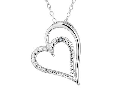 Heart Pendant Necklace with Diamond Accent in Sterling Silver with Chain