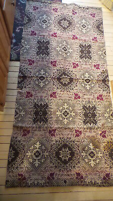 "Antique WOVEN FABRIC PIECE Brown, Red Floral, Coverlet, 34""x72"""