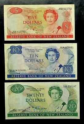 1985-89 NEW ZEALAND Lot of 3 Notes $5 $10 $20 P171b P172a & P173b