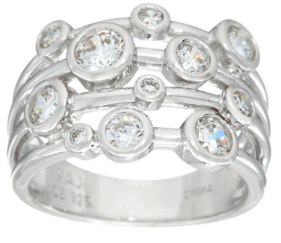 Diamonique 1.00Ct Sterling Silver Scatter Design Bezel Set Band Ring Size 8 Qvc