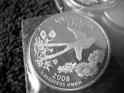 2008 S Silver Oklahoma State  Quarter From Silver Proof Set