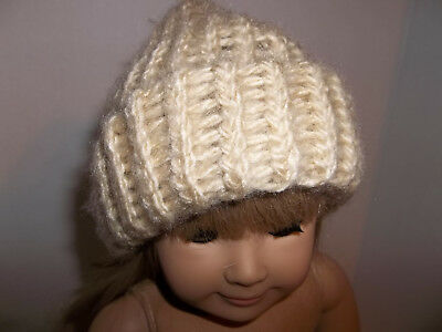 """Tan Handknit Hat Accessories made for 15"""" and 18"""" American Girl Doll Clothes New"""