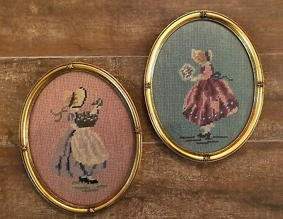 1939 Vintage needlepoint framed picture sunbonnet girls pair lot country sue