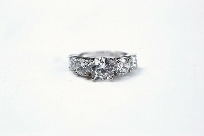 New Sterling Silver 925 Rhodium CZ Cubic Zirconia 5 Stone Ring Size 10 Grade AAA