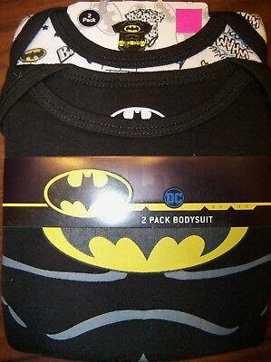 01f92cf28844 Batman DC Comics 2 Pack One Piece Bodysuit Infant Baby Boy Size 3-6 Months