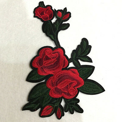 Flower Sew Clothing Rose Bag Applique Badge Embroidered Floral Sticker Patch