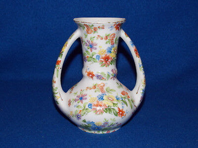 Vintage 2 Handled GOLD CASTLE CHINTZ FLORAL BUD VASE Made in Japan Excellent