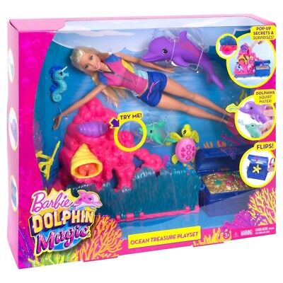 Barbie Dolphin Magic Ocean Treasure Playset MATTEL Scuba Snorkel
