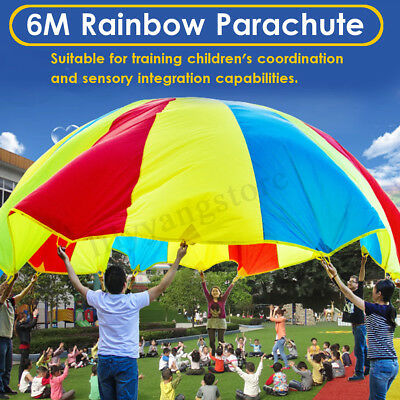 Large 20ft / 6M Kids Play Rainbow Parachute Outdoor Game Development Exercise