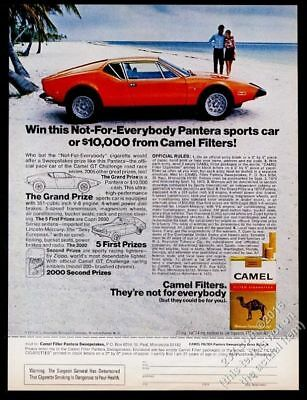 1973 de Tomaso Pantera orange car photo Camel cigarettes vintage print ad