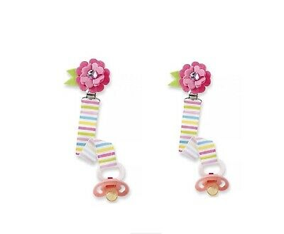 New 2 Mud Pie Infant Girls Striped Flower Pacifier Holder Clip