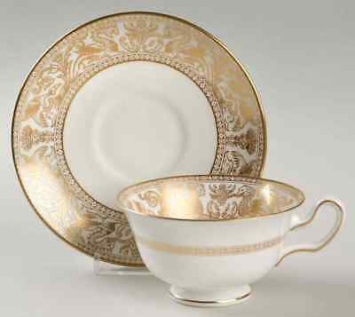 Wedgwood FLORENTINE GOLD WHITE BODY Peony Shape Cup & Saucer 6766226