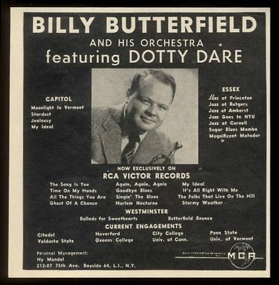 1957 Dotty Dare photo Billy Butterfield orchestra concert booking print ad