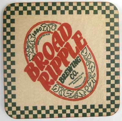 BROAD RIPPLE BREWING CO., Beer COASTER, Mat with RED TRIM, Indianapolis, INDIANA