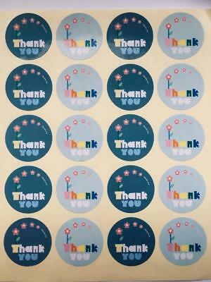 40 THANK YOU BLUE FLORAL CIRCLE STICKERS  labels seals gift treat bags 3.5cm