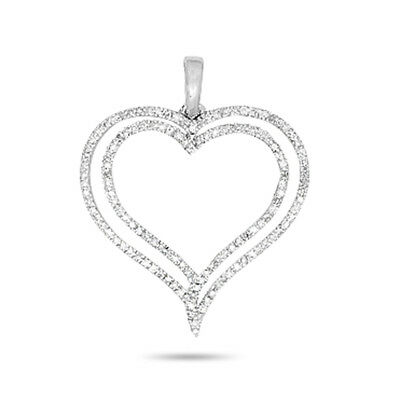 Double Heart Shape Pendant 0.20 CT Natural Diamond Solid 14K White Gold