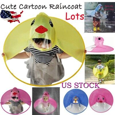 Foldable Cartoon Duck Kids Raincoat Umbrella UFO Shape Rain Hat Cape Flowery  US e5a79b6882ca